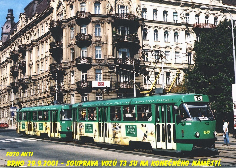 Fotogalerie » ČKD Tatra T3G 1649 | ČKD Tatra T3G 1650 | Brno | Veveří | Veveří | Konečného náměstí