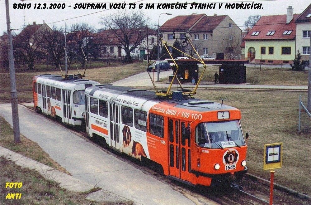 Fotogalerie » ČKD Tatra T3G 1645 | ČKD Tatra T3G 1646 | Modřice | Brněnská | Modřice, smyčka