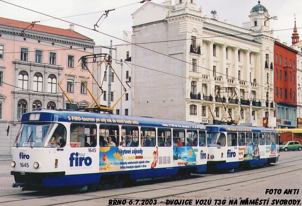 Fotogalerie » ČKD Tatra T3G 1645 | ČKD Tatra T3G 1646 | Brno | střed | náměstí Svobody