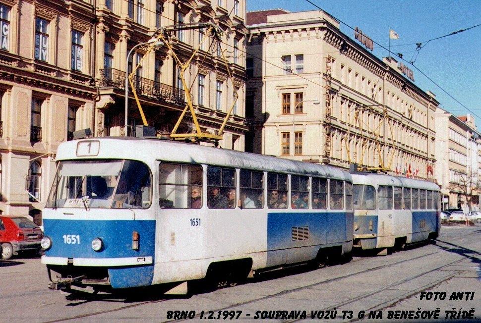 Fotogalerie » ČKD Tatra T3G 1651 | ČKD Tatra T3G 1652 | Brno | střed | Joštova