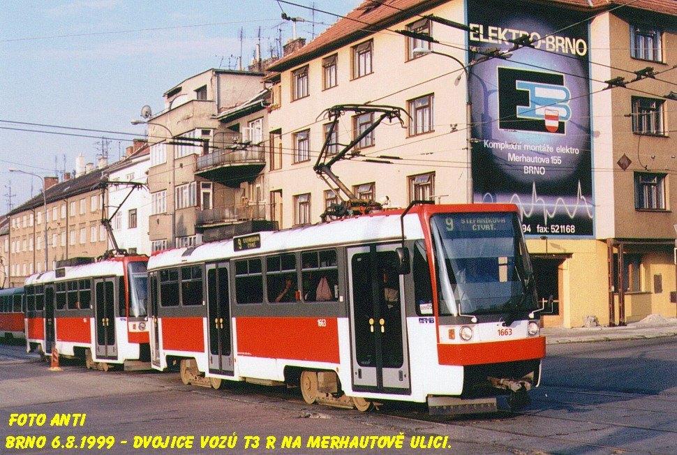 Fotogalerie » ČKD DS T3R 1663 | ČKD DS T3R 1664 | Brno | Merhautova