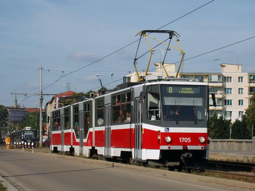 Fotogalerie » ČKD Tatra KT8D5R.N2 1705 | Brno | Štýřice | Renneská