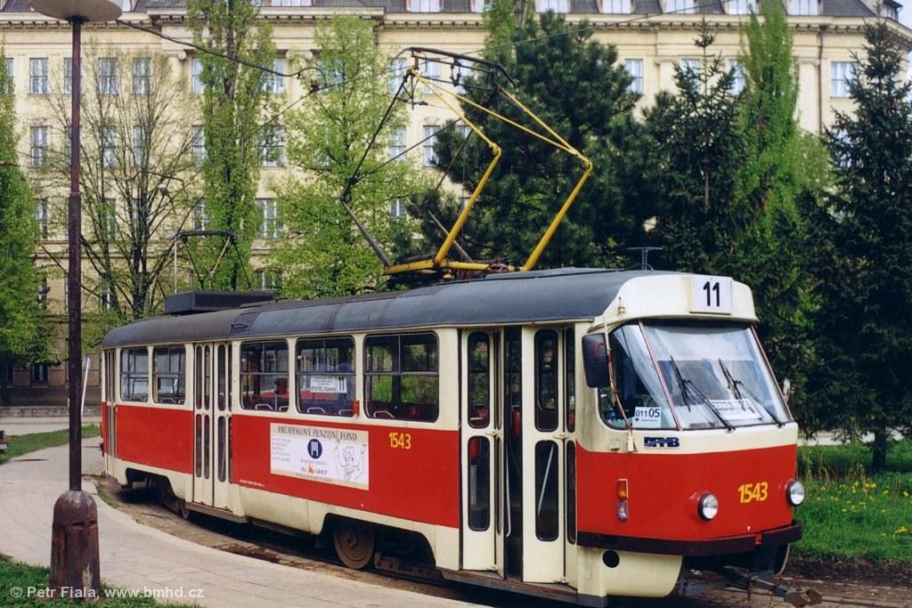 Fotogalerie » ČKD Tatra T3M 1543 | Brno | Černá Pole | Zemědělská | Zemědělská, smyčka