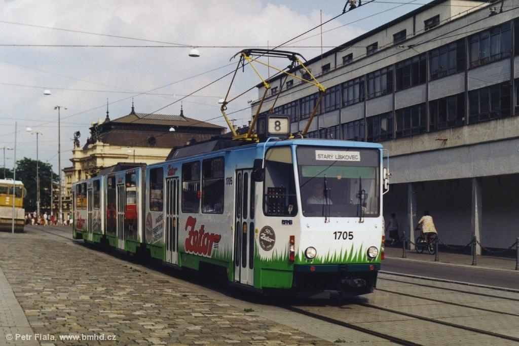 Fotogalerie » ČKD Tatra KT8D5 1705 | Brno | střed | Nádražní