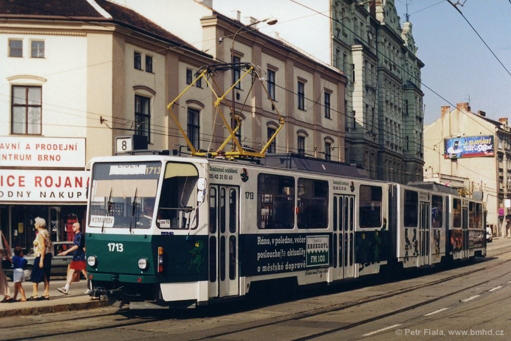 Fotogalerie » ČKD Tatra KT8D5 1713 | Brno | střed | Křenová | Hlavní nádraží
