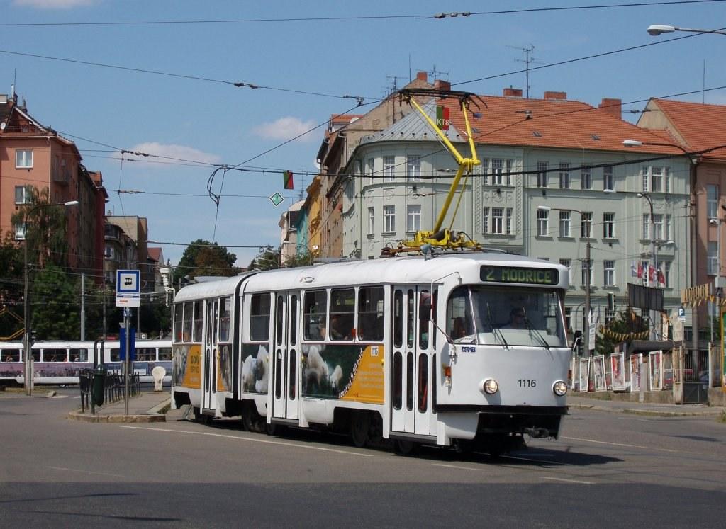 Fotogalerie » ČKD Tatra K2P 1116 | Brno | Černá Pole | Jugoslávská | Jugoslávská