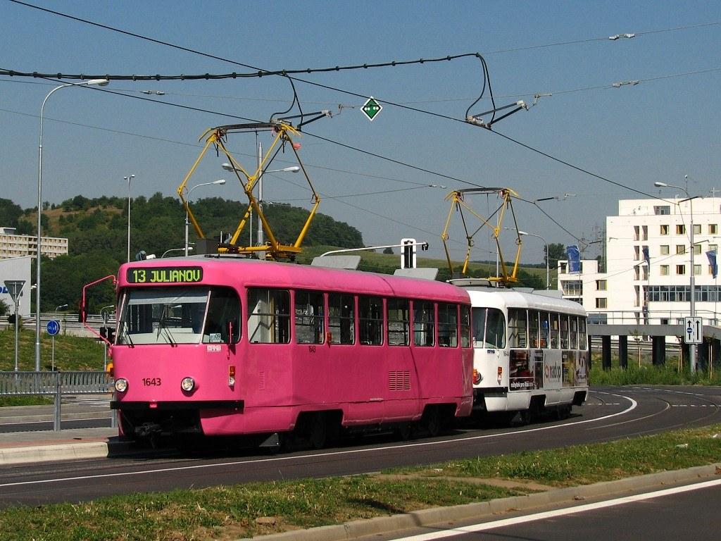 Fotogalerie » ČKD Tatra T3G 1643 | ČKD Tatra T3G 1644 | Brno | Královo Pole | Purkyňova | Technické muzeum