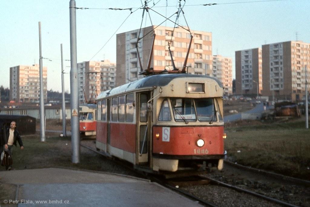 Fotogalerie » Tatra T2 1446 | Brno | Bystrc | Ečerova, smyčka