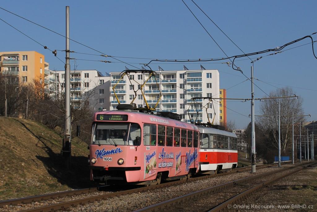 Fotogalerie » ČKD Tatra T3G 1604 | ČKD Tatra T3G 1619 | Brno | Bohunice