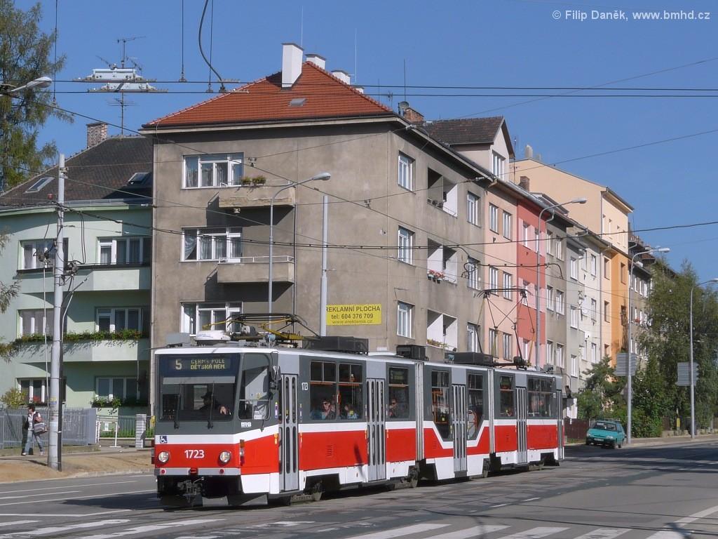 Fotogalerie » ČKD Tatra KT8D5R.N2 1723 | Brno | Černá Pole | Merhautova