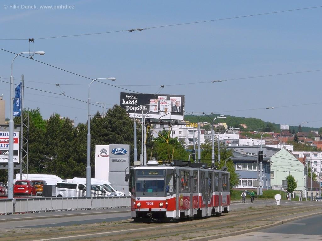 Fotogalerie » ČKD Tatra KT8D5R.N2 1703 | Brno | Medlánky | Palackého třída