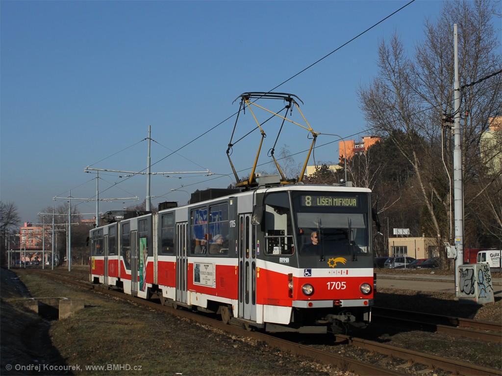 Fotogalerie » ČKD Tatra KT8D5R.N2 1705 | Brno | Židenice | Ostravská