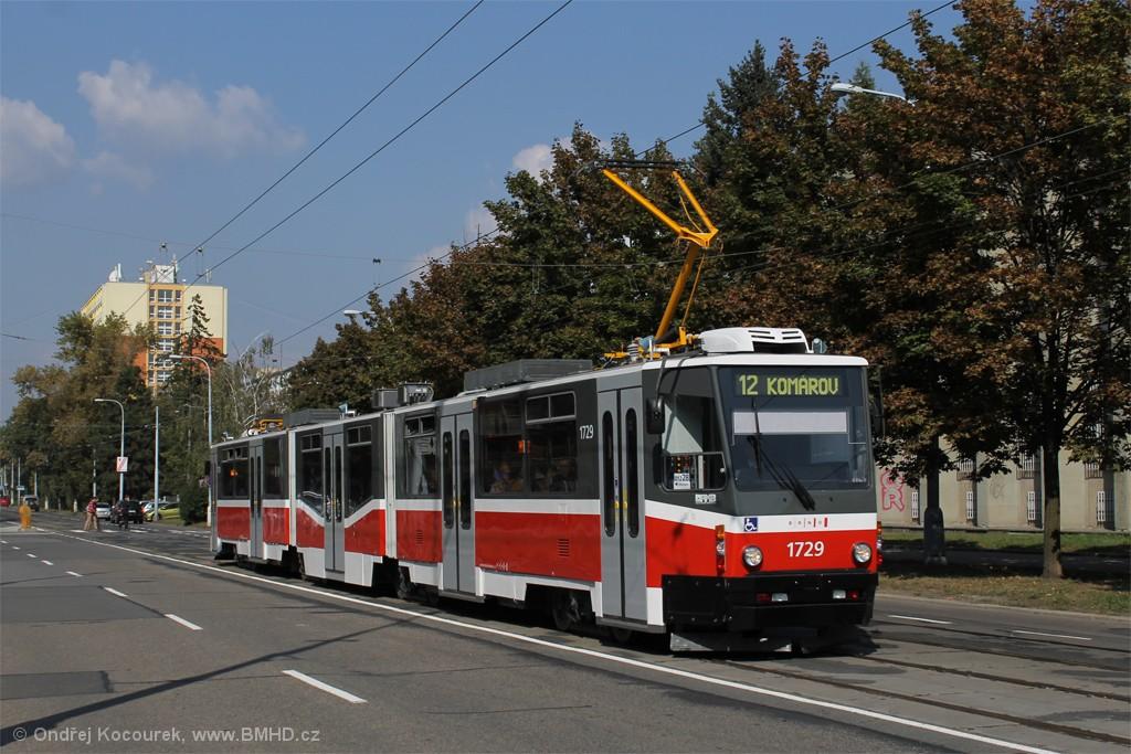 Fotogalerie » ČKD Tatra KT8D5N 1729 | Brno | Veveří | Kounicova