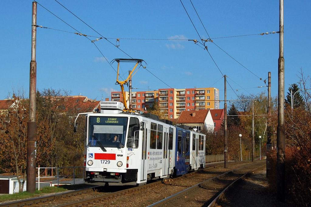 Fotogalerie » ČKD Tatra KT8D5N 1729 | Brno | Bohunice