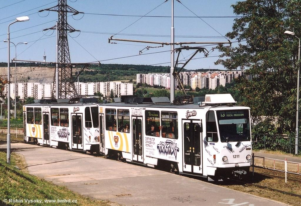 Fotogalerie » ČKD DS T6A5 1211 | ČKD DS T6A5 1212 | Brno | Líšeň | Jedovnická | Bílá Hora