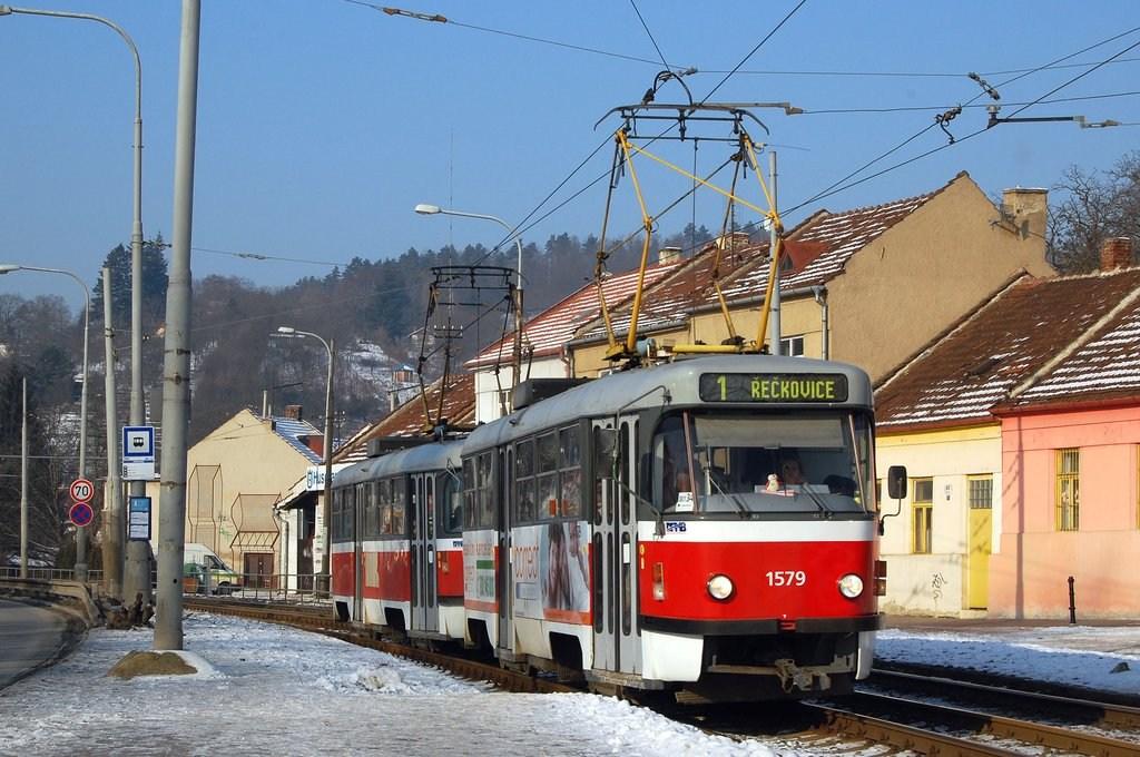 Fotogalerie » ČKD Tatra T3M 1579 | ČKD Tatra T3M 1578 | Brno | Komín | Kníničská