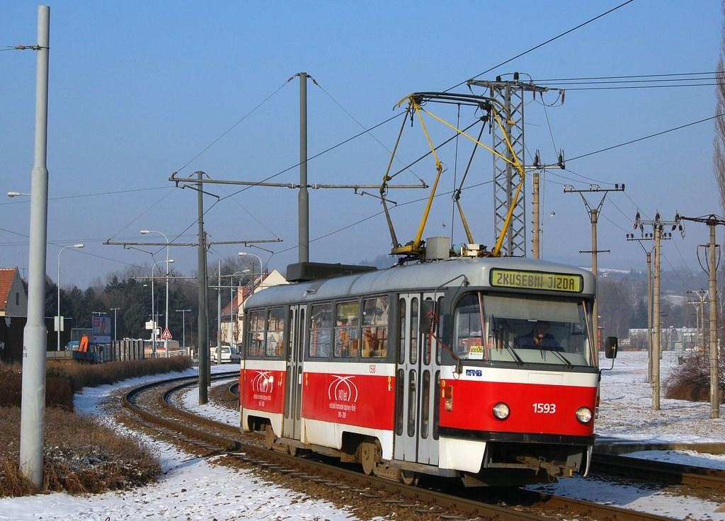 Fotogalerie » ČKD Tatra T3M 1593 | Brno | Bystrc | Obvodová