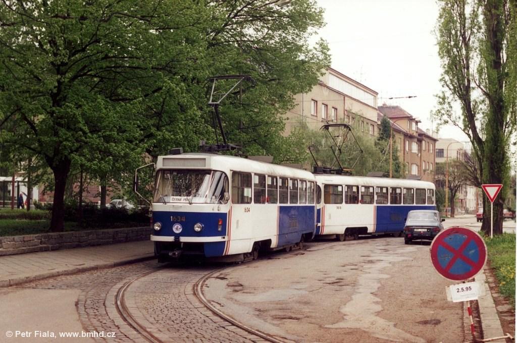 Fotogalerie » ČKD Tatra T3G 1634 | ČKD Tatra T3G 1616 | Brno | Černá Pole | Zemědělská | Zemědělská, smyčka