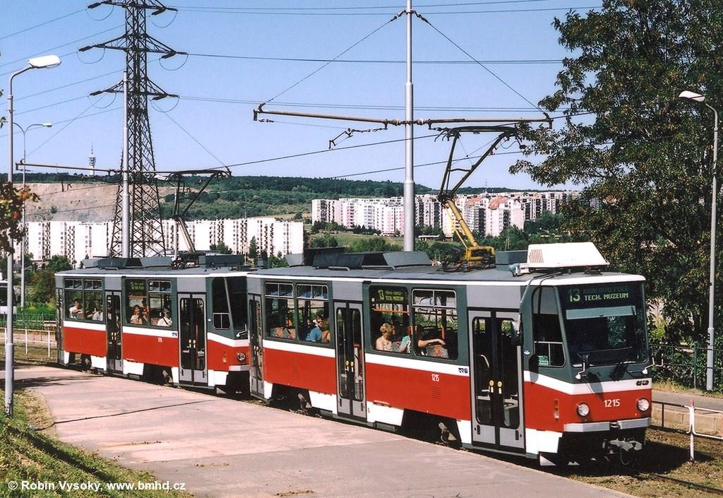 Fotogalerie » ČKD DS T6A5 1215   ČKD DS T6A5 1216   Brno   Líšeň   Jedovnická   Bílá Hora