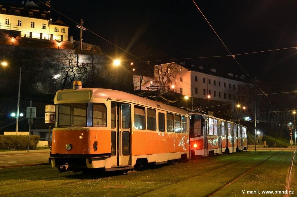 Fotogalerie » ČKD Tatra KT8D5R.N2 1706 | Tatra T2 služební 4121 | Brno | střed | Nové sady