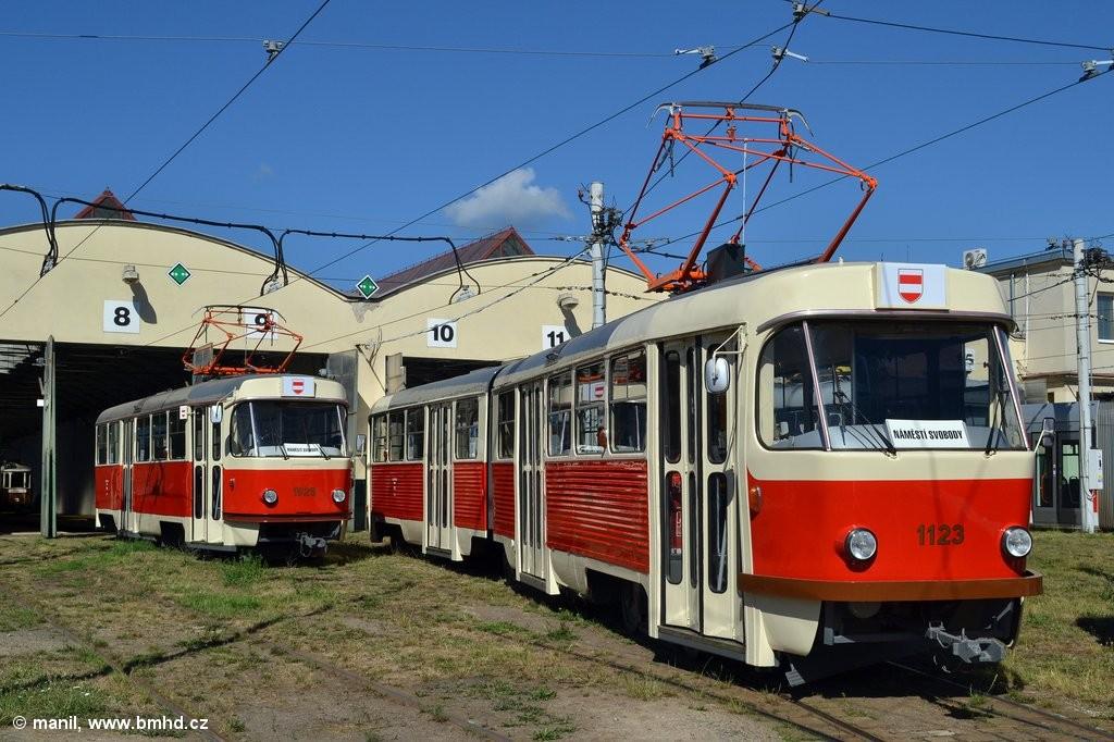 Fotogalerie » ČKD Tatra K2YU 1123 | ČKD Tatra T3 1525 | Brno | vozovna Medlánky