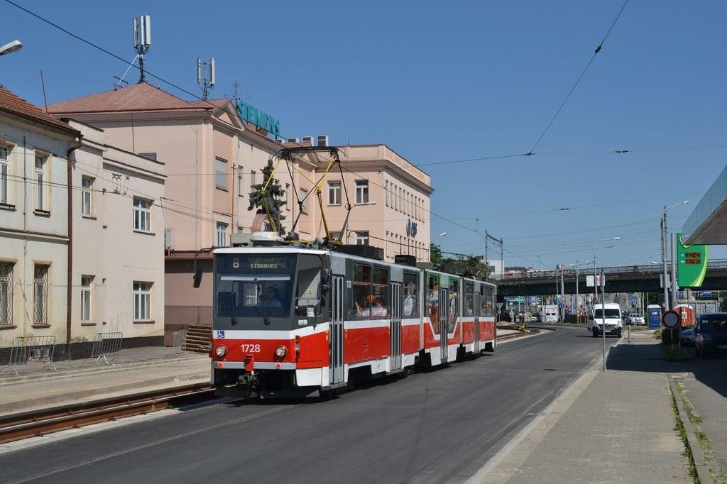 Fotogalerie » ČKD Tatra KT8D5R.N2 1728 | Brno | Černovice | Olomoucká