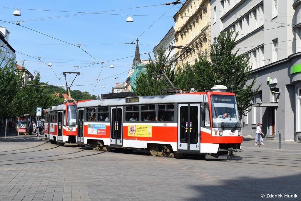 Fotogalerie » ČKD DS T3R 1667 | ČKD DS T3R 1668 | Brno | střed | Joštova | Česká