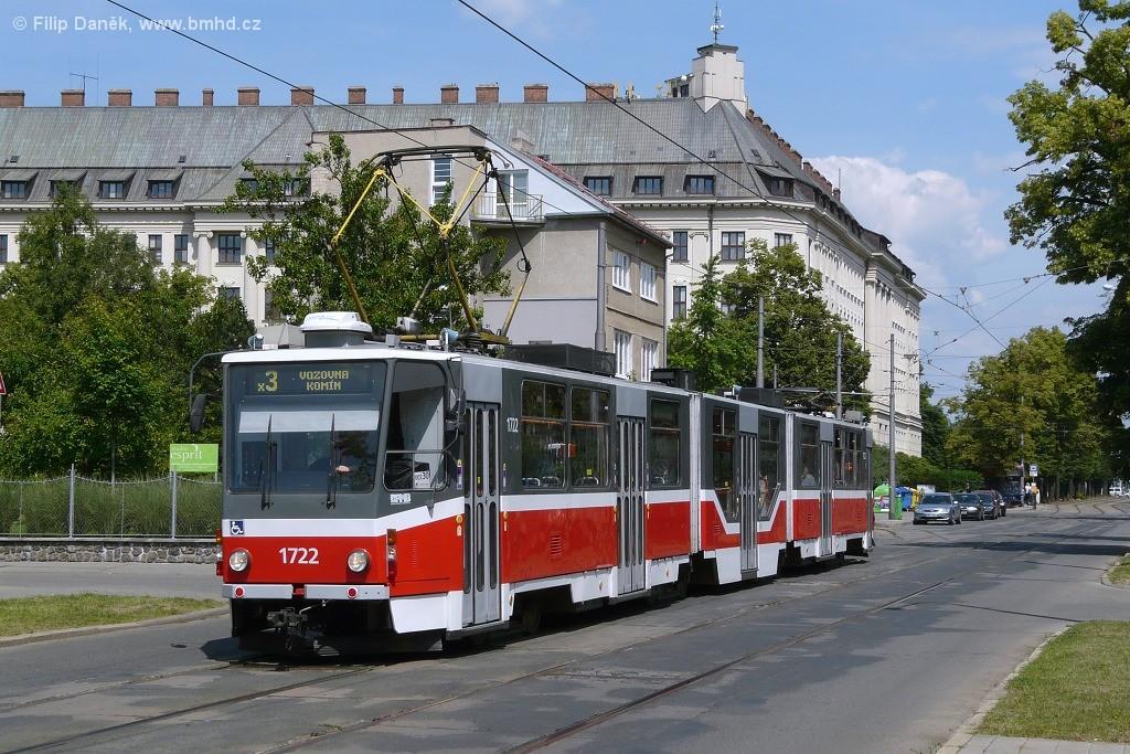 Fotogalerie » ČKD Tatra KT8D5R.N2 1722 | Brno | Černá Pole | Lesnická