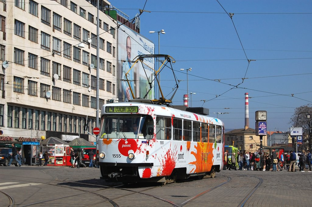 Fotogalerie » ČKD Tatra T3M 1555   Brno   střed   Nádražní   Hlavní nádraží