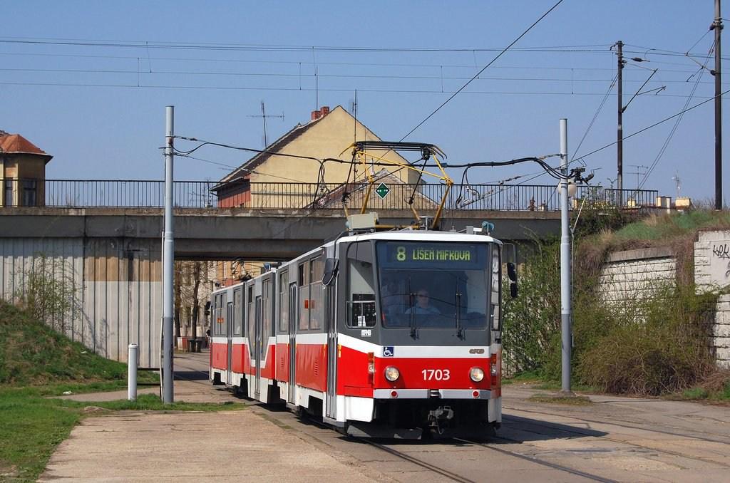Fotogalerie » ČKD Tatra KT8D5R.N2 1703 | Brno | Židenice | Nezamyslova