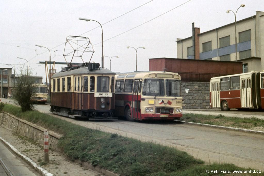 Fotogalerie » KPS Brno mv6.1 81   Karosa ŠM11.1630MOC 2844   Brno   vozovna Medlánky