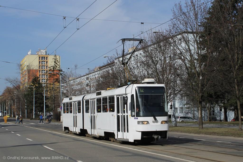 Fotogalerie » ČKD Tatra K2R03-P 1040 | Brno | Veveří | Kounicova