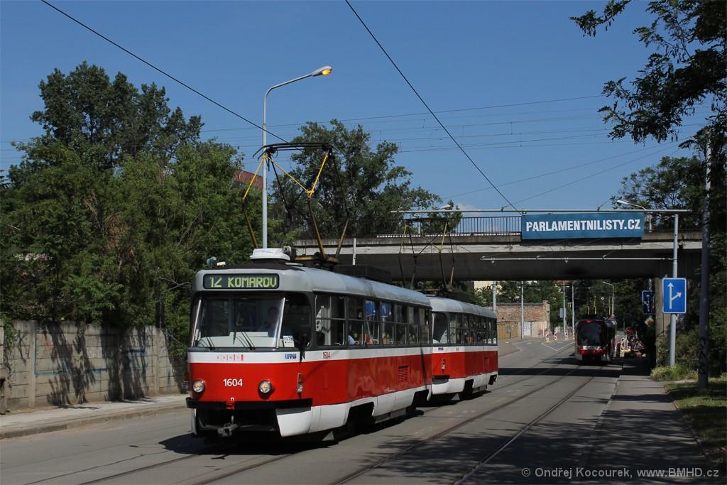 Fotogalerie » ČKD Tatra T3G 1604 | ČKD Tatra T3G 1619 | Brno | Trnitá | Dornych