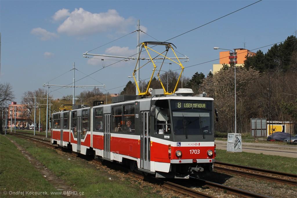 Fotogalerie » ČKD Tatra KT8D5R.N2 1703 | Brno | Židenice | Ostravská