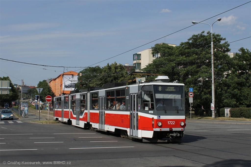 Fotogalerie » ČKD Tatra KT8D5R.N2 1722 | Brno | Štýřice | Renneská