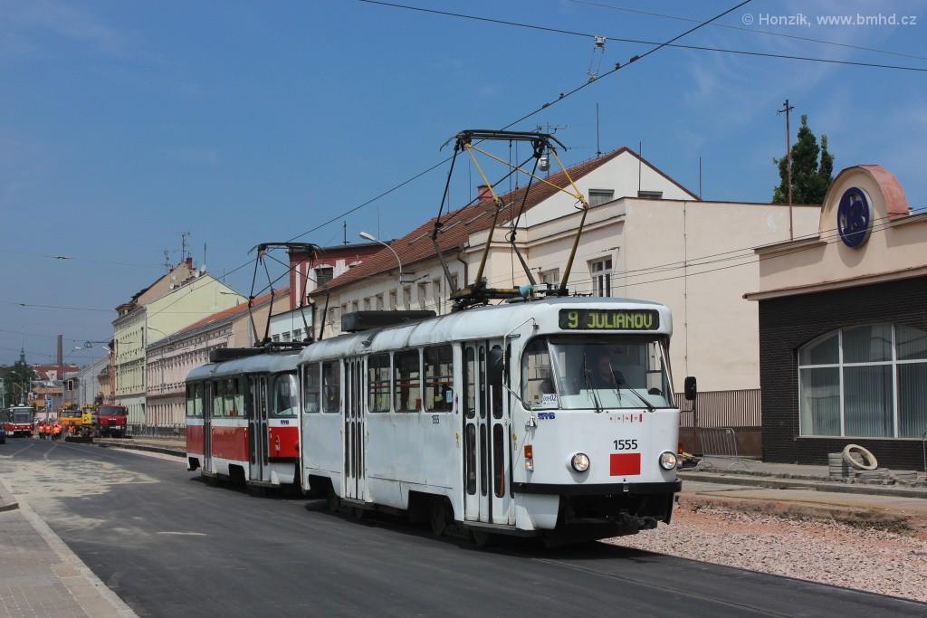 Fotogalerie » ČKD Tatra T3M 1555 | ČKD Tatra T3M 1582 | Brno | Černovice | Olomoucká