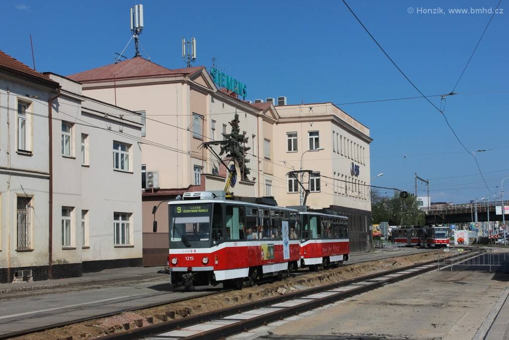 Fotogalerie » ČKD DS T6A5 1215 | ČKD DS T6A5 1216 | Brno | Černovice | Olomoucká