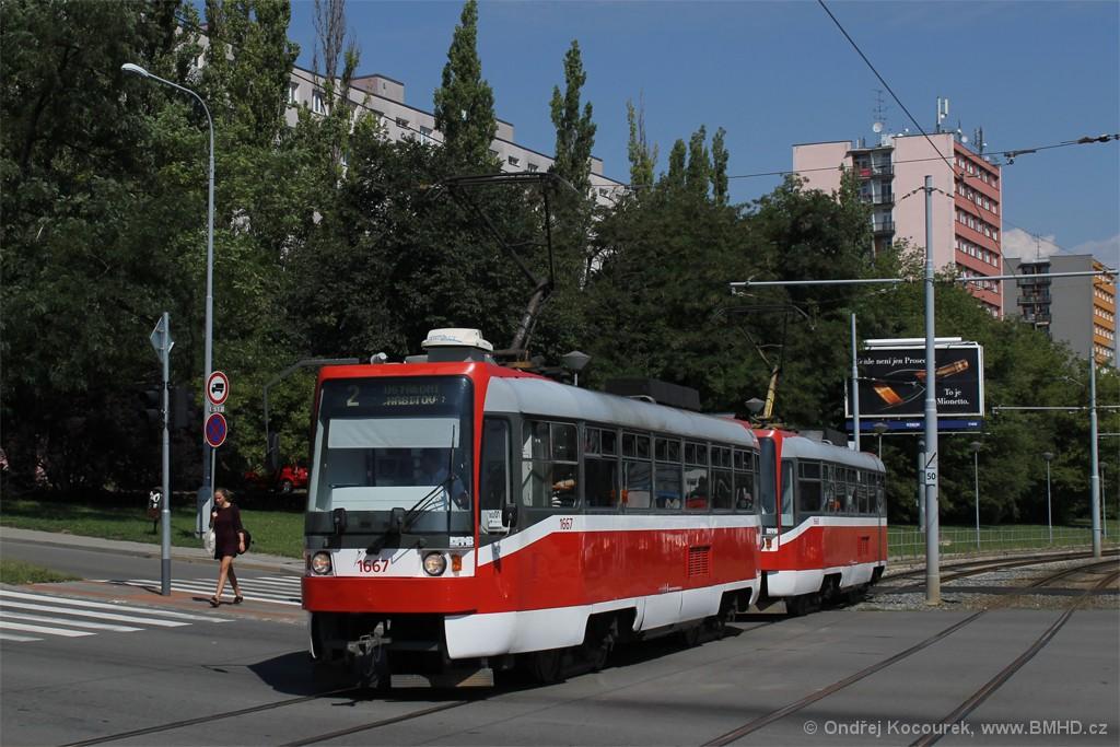 Fotogalerie » ČKD DS T3R 1667   ČKD DS T3R 1668   Brno   Štýřice   Vídeňská