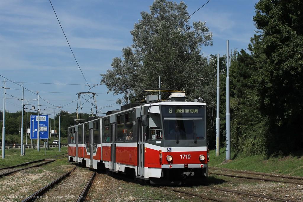 Fotogalerie » ČKD Tatra KT8D5R.N2 1710   Brno   Židenice   Ostravská