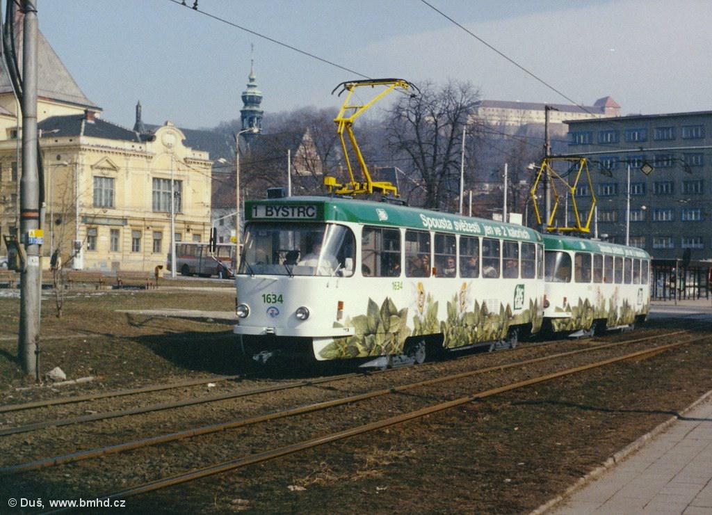 Fotogalerie » ČKD Tatra T3G 1634 | ČKD Tatra T3G 1616 | Brno | Staré Brno | Veletržní