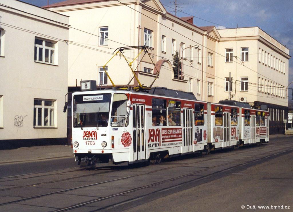 Fotogalerie » ČKD Tatra KT8D5 1703 | Brno | Černovice | Olomoucká