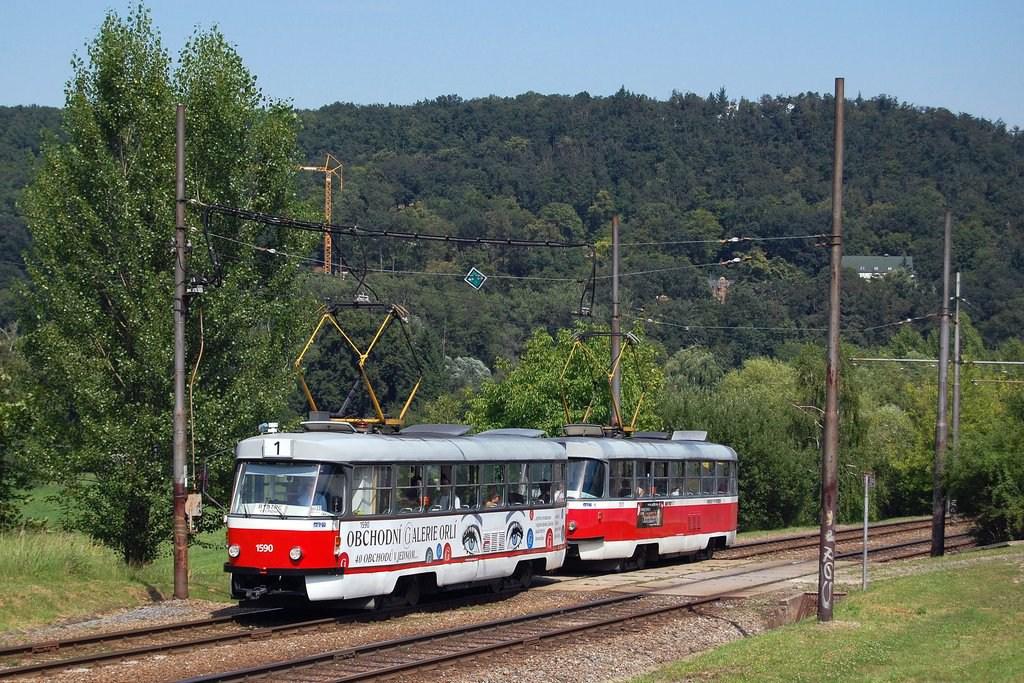 Fotogalerie » ČKD Tatra T3 1590 | ČKD Tatra T3 1511 | Brno | Bystrc
