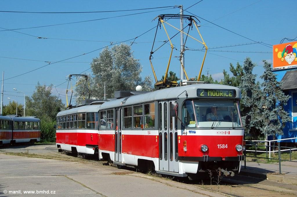Fotogalerie » ČKD Tatra T3M 1584 | ČKD Tatra T3M 1532 | Brno | Židenice | Stará osada | Stará osada, smyčka