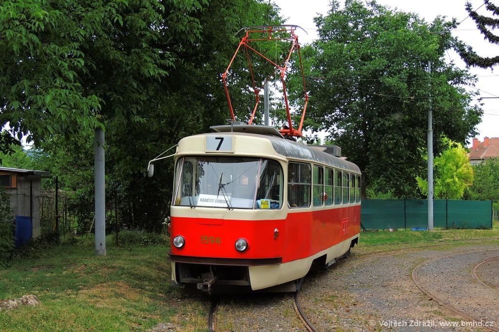 Fotogalerie » ČKD Tatra T3M 1594 | Brno | Královo Pole | Purkyňova | Červinkova, smyčka