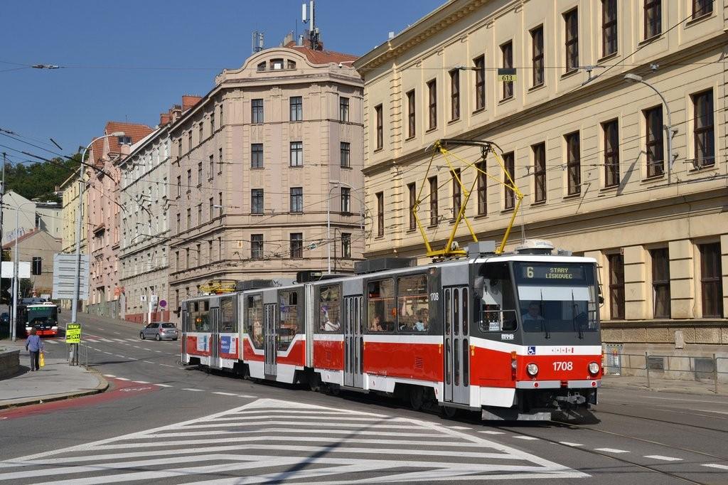 Fotogalerie » ČKD Tatra KT8D5R.N2 1708 | Brno | Staré Brno | Mendlovo náměstí