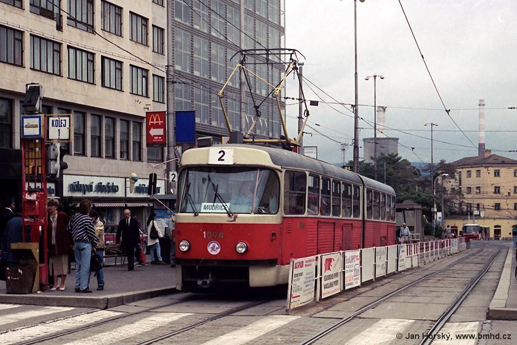 Fotogalerie » ČKD Tatra K2MM 1094 | Brno | střed | Nádražní | Hlavní nádraží