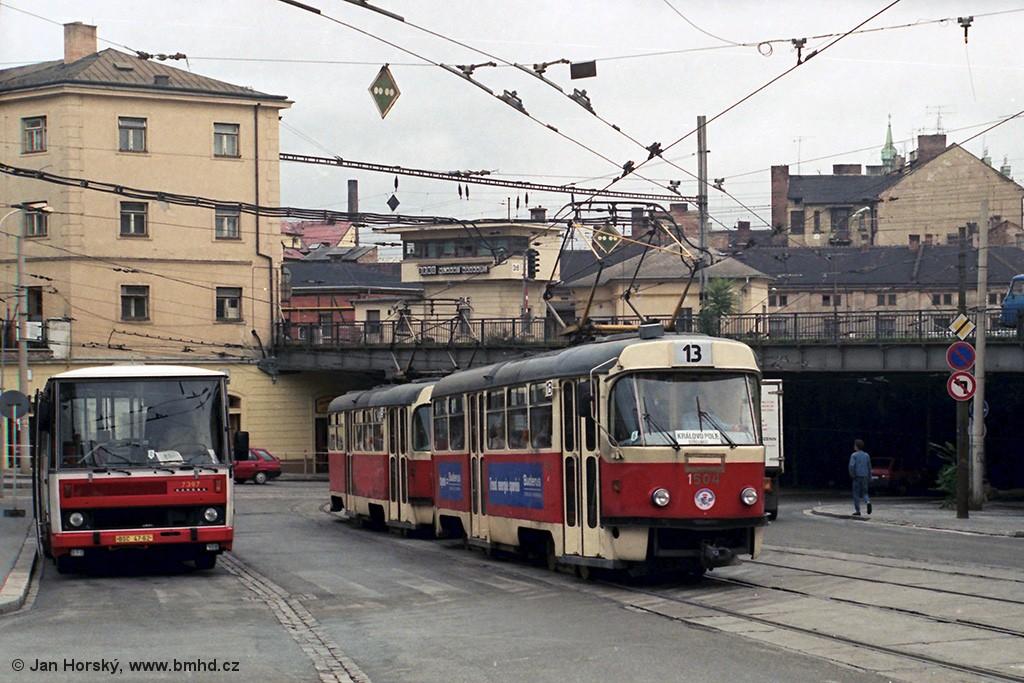 Fotogalerie » ČKD Tatra T3 1504 | Karosa B732.1654.3 BSC 47-62 7397 | Brno | střed | Nádražní