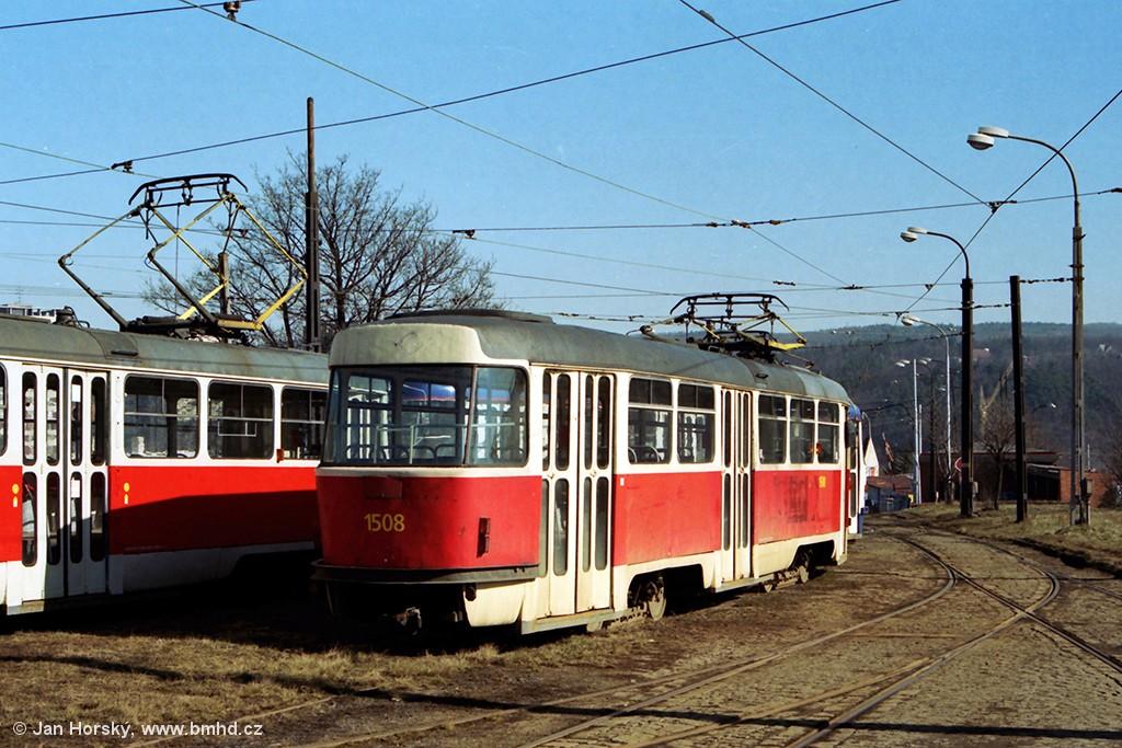 Fotogalerie » ČKD Tatra T3 1508 | Brno | Medlánky | Vozovna Medlánky