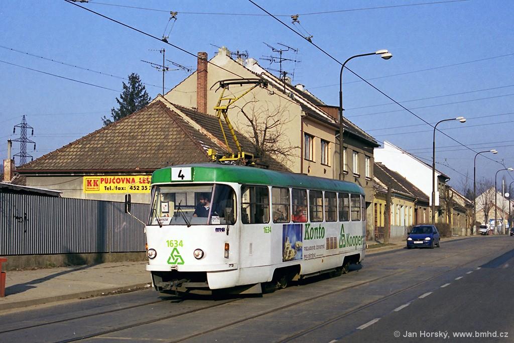 Fotogalerie » ČKD Tatra T3G 1634 | Brno | Maloměřice | Obřanská | Obřanská, u školy