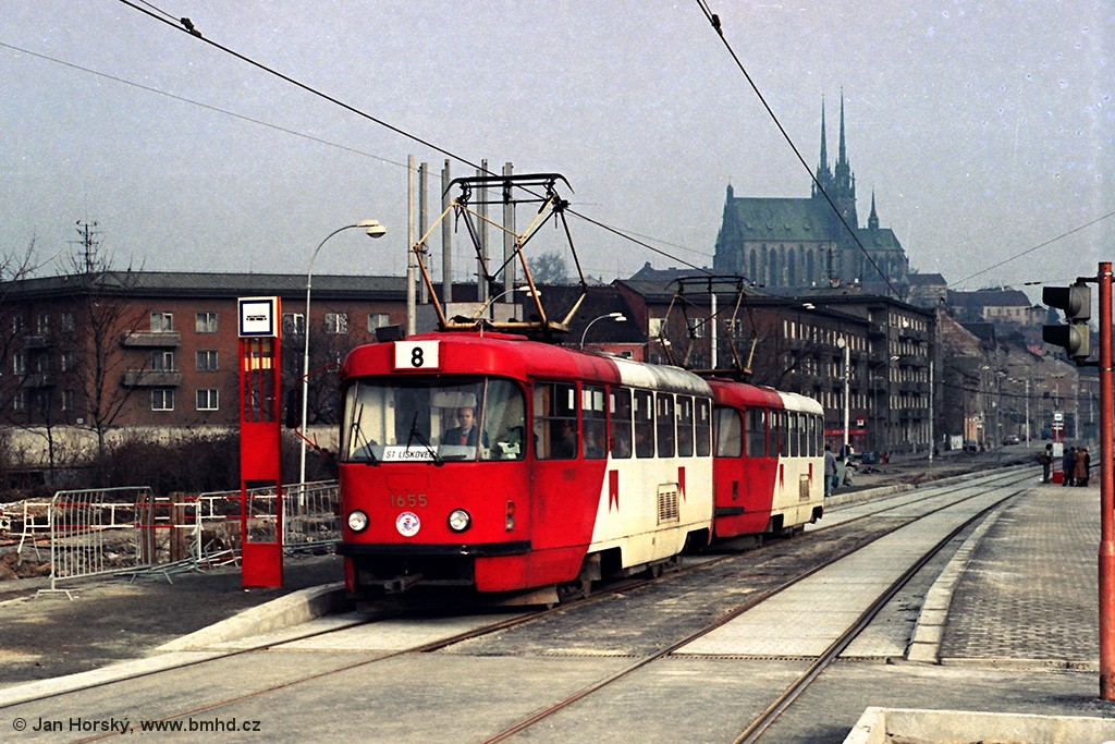 Fotogalerie » ČKD Tatra T3 1655   ČKD Tatra T3 1656   Brno   Staré Brno   Nové sady   Křídlovická